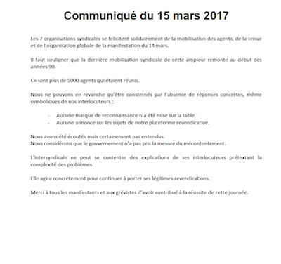 Communiqué de presse suite à la manifestation du 14 mars à Paris