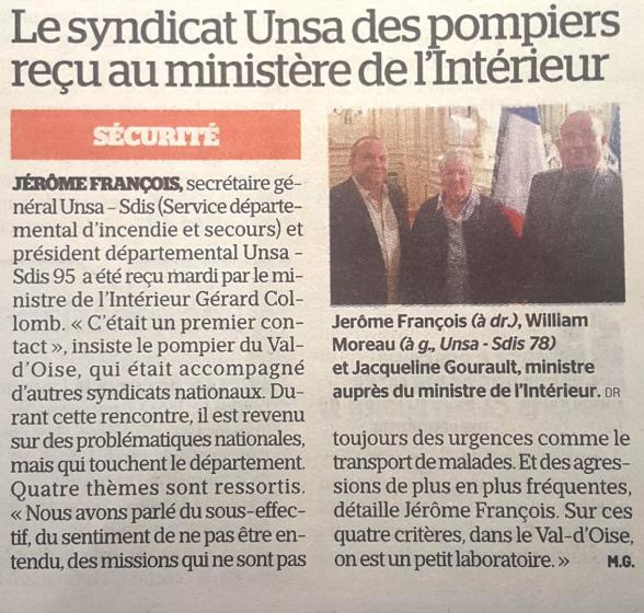 [Le Parisien] L'UNSA-SDIS au ministère de l'intérieur