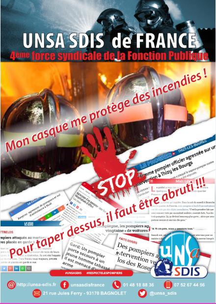 [TRACT] Halte violence SP UNSA - Mon casque me protège des incendies !