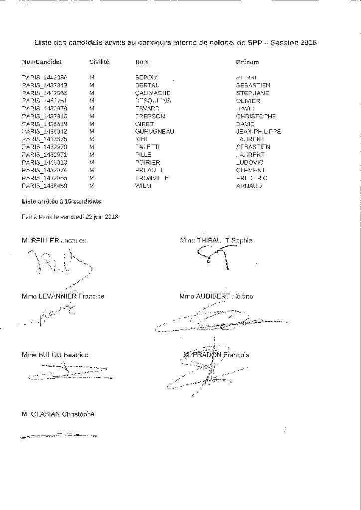 thumbnail of Listes des candidats admis au concours interne de colonel de SPP Session 2018