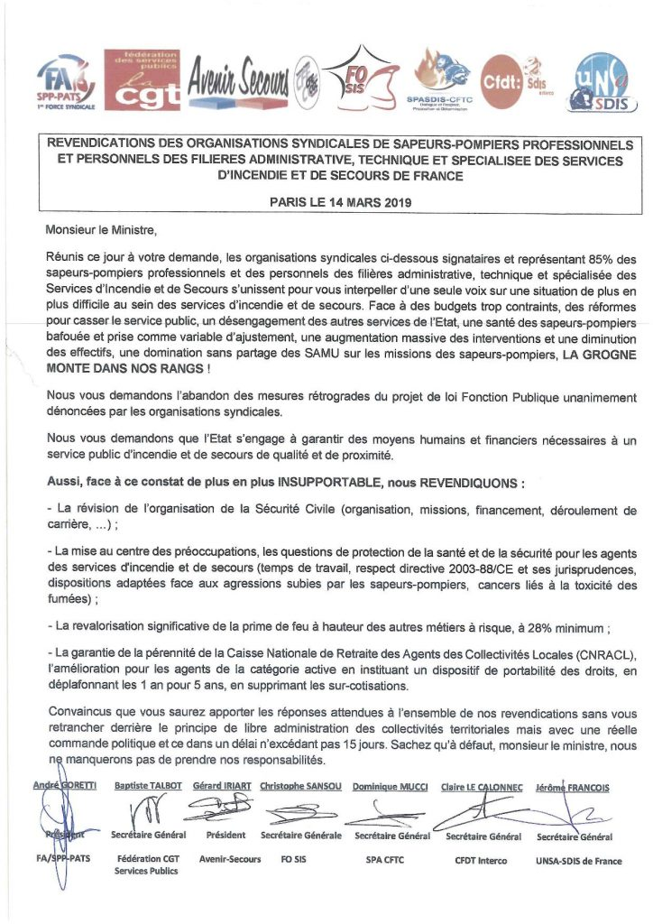 Revendications des organisations SPP et PATS des SIS de France