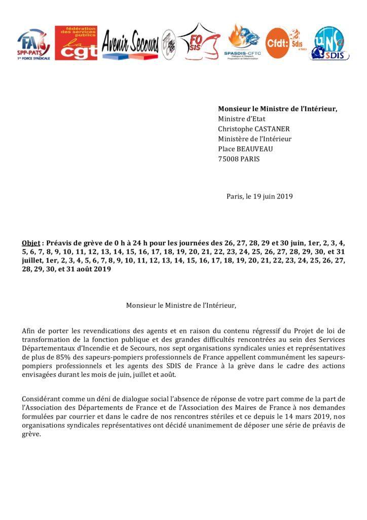 thumbnail of Courrier à Mr Christophe CASTANER – préavis de grève intersyndicale – unité syndicale, le 19 06 2019