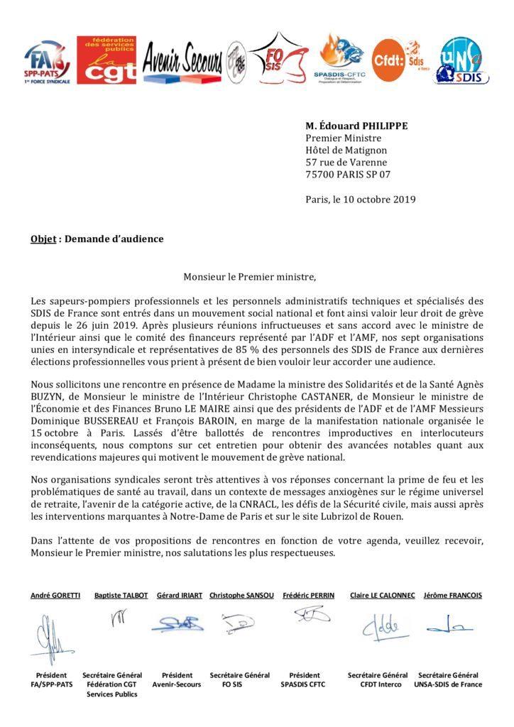 thumbnail of Courrier à M. le Premier ministre Edouard PHILIPPE – demande d'audience – le 10 10 2019